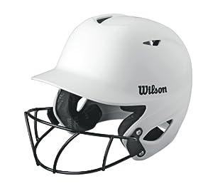 Wilson Collegiate 2.0 Fitting Batting Helmet with Softball Mask, White, Small by Wilson