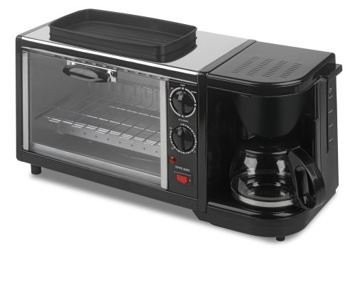 Kalorik Breakfast Set: 3-In-1 Coffee Maker/Oven/Griddle, Stainless/Black (Three In One Toaster Oven compare prices)
