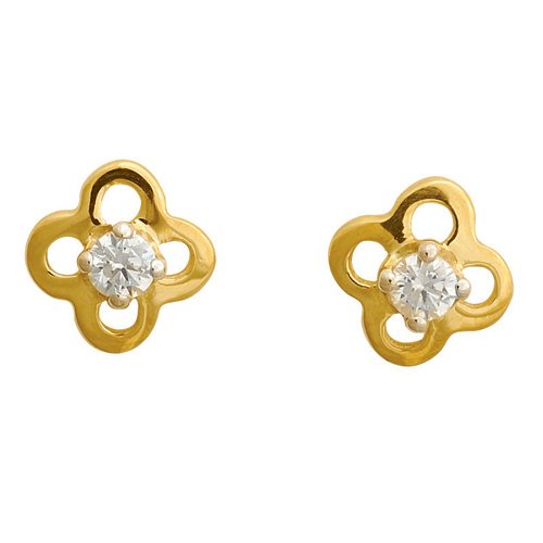 So Chic Jewels - 9k Yellow Gold - White Cubic Zirconia Flower Stud Earrings