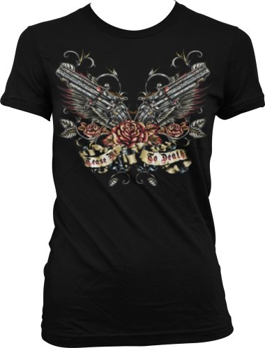 Tease Me To Death Juniors Tattoo T-Shirt, Pistols And Roses Old School Tattoo Style Design Juniors Tee, X-Large, Black