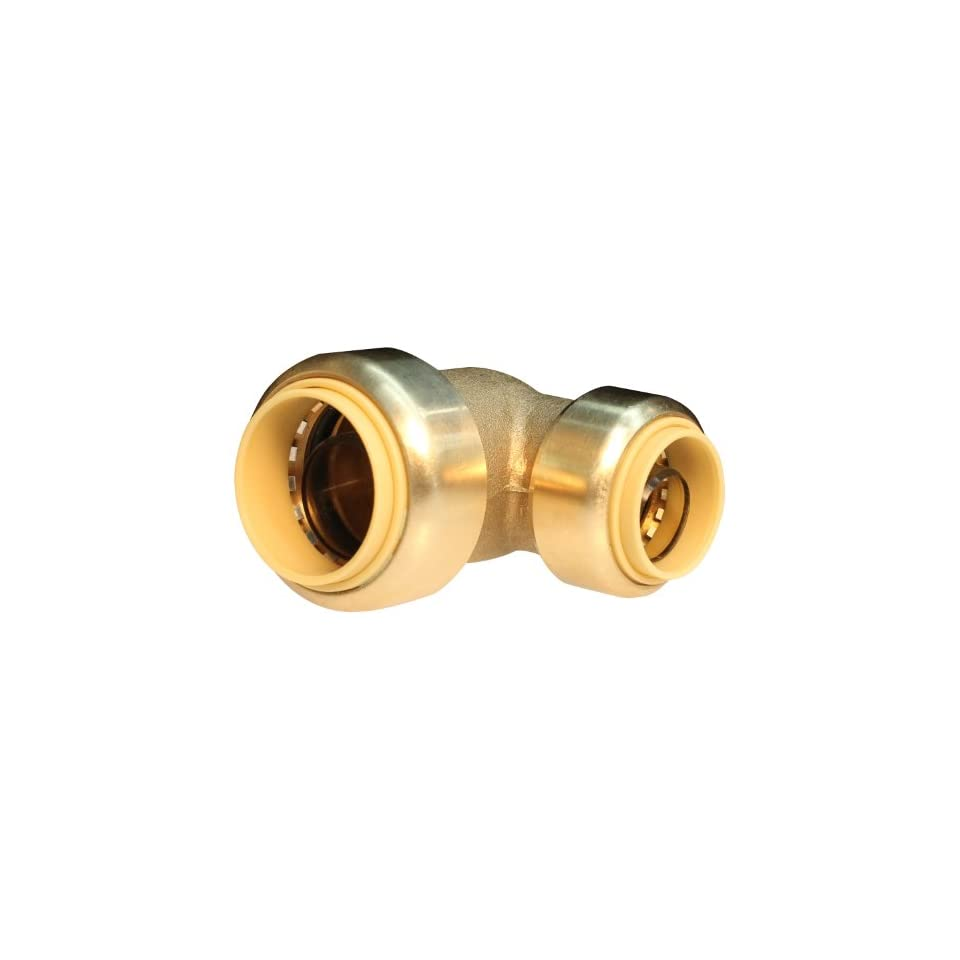 Push Connect PC LF843 3/4 Inch Push by 1/2 Inch Push, Lead Free Brass Push Fit Reducing Elbow
