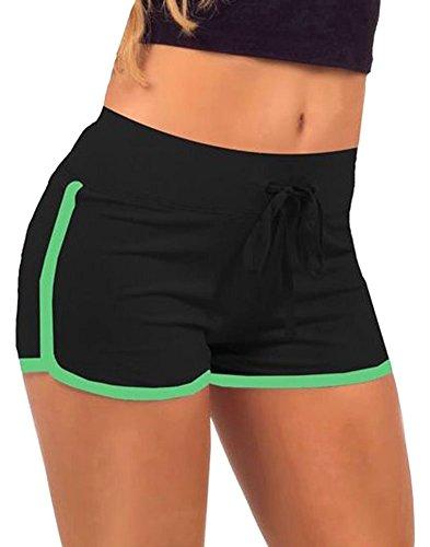 WmcyWell Women's Solid Yoga Running Sports Shorts Tight Hot Shorts S, Black and Green Retro Cheer Shorts