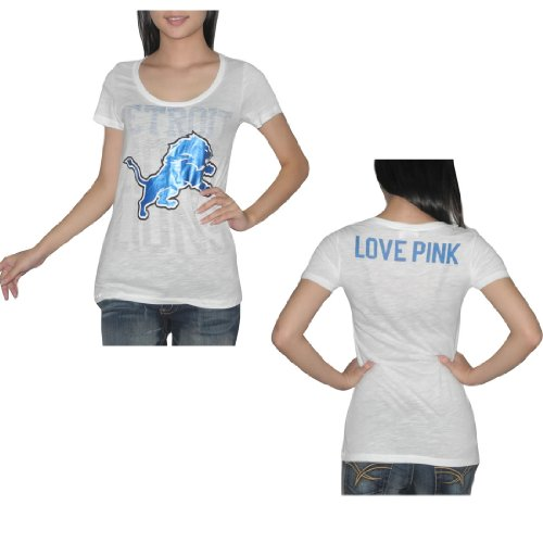Pink Victoria's Secret Womens NFL Detroit Lions T Shirt Medium White at Amazon.com