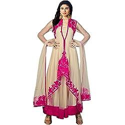 Vasu Saree Mouni Roy Sophisticated Net Beige Resham Work Designer Suit