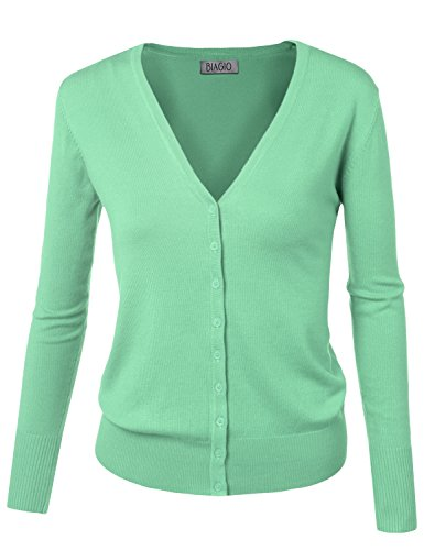 BIAGIO Women Button Down Long Sleeve Basic Soft Knit Cardigan Sweater Mint Medium