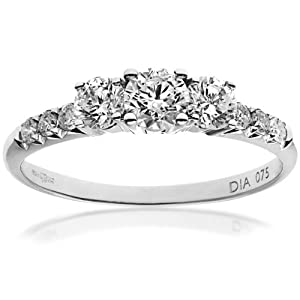 Ariel 18ct White Gold Trilogy Engagement Ring, IJ/I Certified Diamonds, Round Brilliant, 0.75ct-