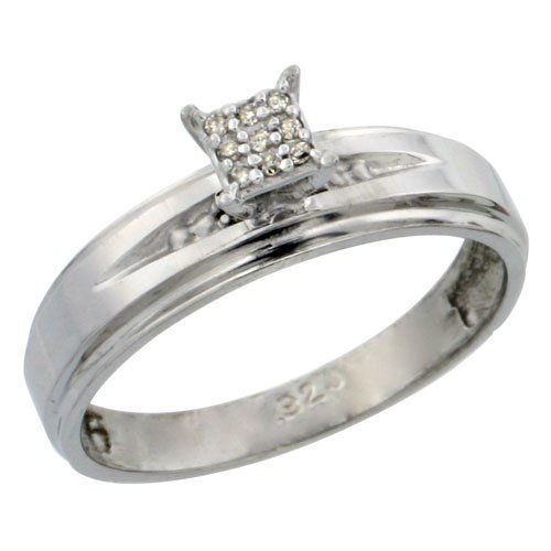 Sterling Silver Diamond Engagement Ring 0.06 cttw Brilliant Cut, 3/16 inch 5mm wide, Size 6.5