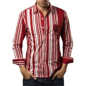 Red White Striped Shirt | Red | M