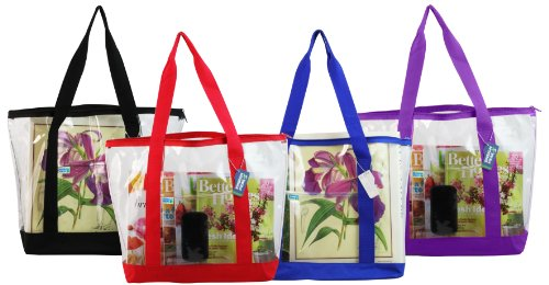 Clear ZIPPER tote with color trim and bottom