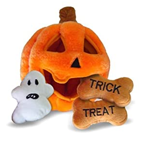 Kyjen PP01826 Hide-A-Toy Halloween Pumpkin Puzzle Plush Interactive Dog Toy, Large, Orange