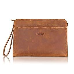 Kattee Vintage Style Genuine Leather Handmade Clutch Purse Bag