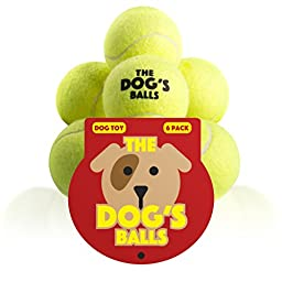 The Dog\'s Balls - Premium Tennis Balls, 6 Pack, Quality, Strong Yellow Dog Toy for Fetch, Puppy Training, Exercise & Play. Fits Chuckit Launcher, Bouncy, No Squeaker, the King Kong of Dog Balls