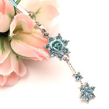 Dangling Blue Roses Cell Phone Charm Strap Rhine Stone