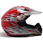 TMS Red Flame Dirtbike ATV Motocross Helmet Mx Off-road (Small)
