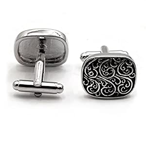 APEX Silver Black Scroll Design Cufflinks with Gift Boxed