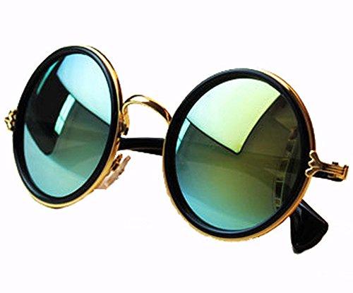 Niouxhc Unisex's Round Mirror Polycarbonate Sunglasses Green