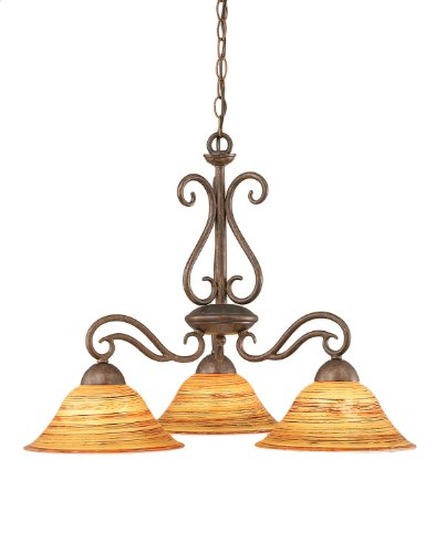 B008AU231G Toltec Lighting 46-BRZ-434 Olde Iron Three-Light Down light Chandelier Bronze Finish with Firré Saturn Glass Shade, 10-Inch
