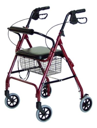 4 Wheel Rolling Walker with Shopping Basket, Padded Seat Burgundy color