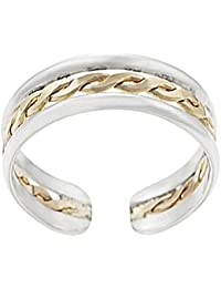 RG Jewellery 14k White Gold Plated 925 Sterling Silver Adjustable Twisted Center Toe Ring