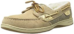 Sperry Womens Bluefish 2-Eye, Sand Suede/Gold-9.5
