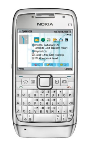 Nokia E71 Unlocked Cell Phone with 3.2 MP Camera, 3G, Media Player, GPS - U.S. Version with Warranty (White)