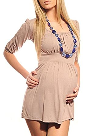 New Ladies Mmaternity Scoop Neck Top Tunic Pregnancy Size 8 10 12 14 16 18 5006 Variety of Colours (8, Beige)