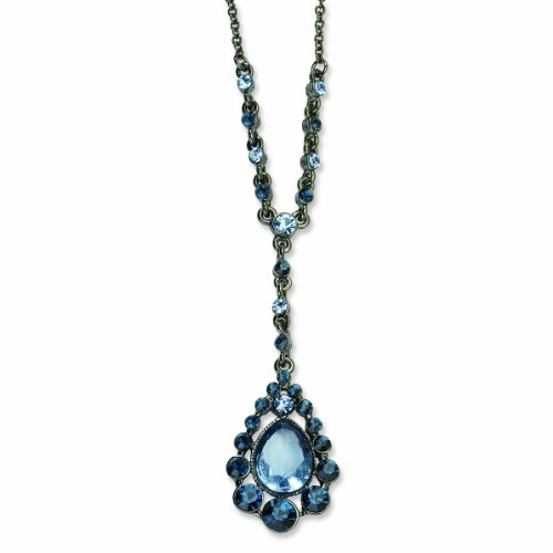 Black-Plated Lt & Dk Blue Glass Stone & Beads 16in W/Ext Y Necklace