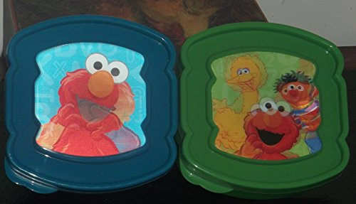 2 Piece Halographic Lunchware Set 1 Blue Elmo and 1 Good Buddies Green Sandwich Savers - 1