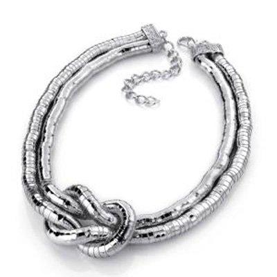 2 Strand Flex Snake Choker Necklace (Silver Tone)