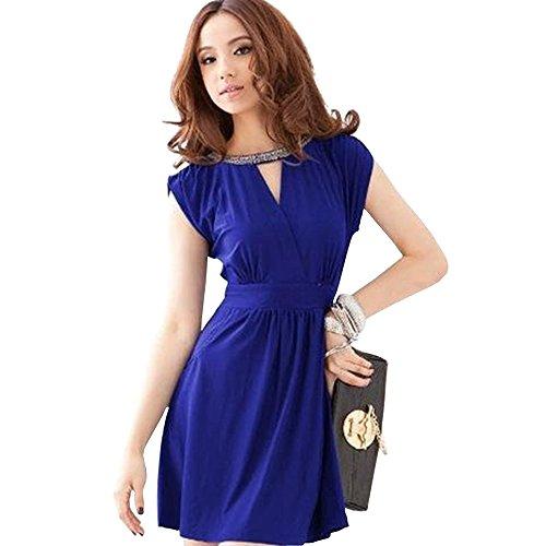 Dayiss ® señoras elegantes vestido de verano sin mangas del V-cuello corto de mini vestidos de noche de lentejuelas en el escote (azul marino)