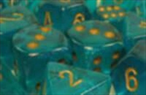 Chessex Manufacturing 27686 16 mm Borealis Teal With Gold Numbering D6 Dice Set Of 12