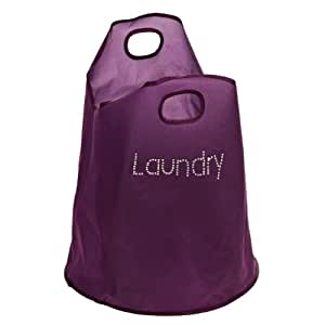 Dual Handled Laundry Bag With Polyester & Diamantes Presented in Purple Colour