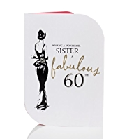 Stylish Dress 60 Sister Birthday Card
