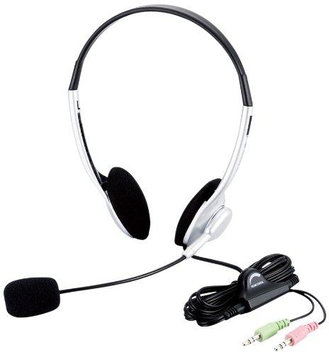 ELECOM ヘッドセットマイクロフォン 両耳オーバーヘッド 1.8m HS-HP10SV