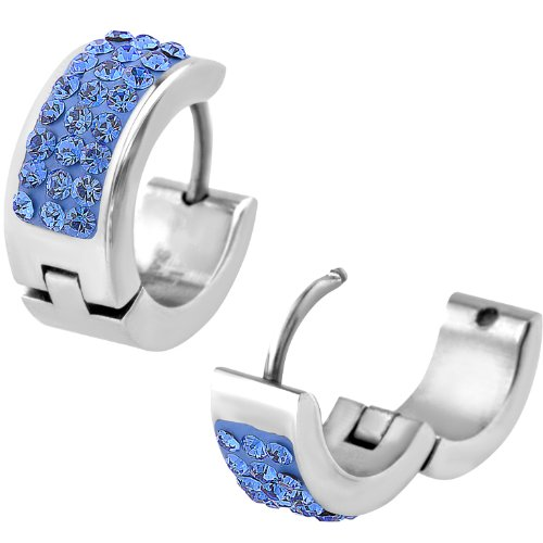 INOX Jewelry Women's 316L Stainless Steel 14mm Triple Row Light Blue CZ Huggy Earrings
