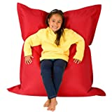 Hi-BagZ® KIDS Bean Bag 4-Way Lounger - GIANT Childrens Bean Bags Outdoor Floor Cushion RED - 100% Water Resistant