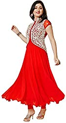 DWM Collection Women's Synthetic Semi-Stitched Dress Material (Red)