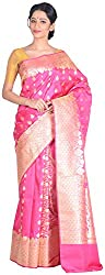 Sree Howrah Stores Women's Silk Saree with Blouse Piece (Pink)