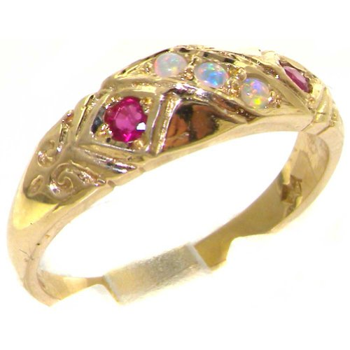 Luxury 9ct 9K Yellow Gold Womens Opal & Ruby Vintage Style Eternity Band Ring - Finger Sizes K to Z Available