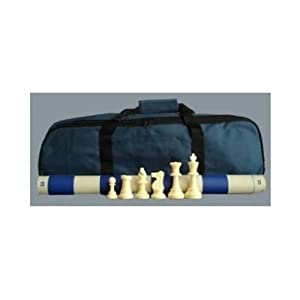 Standard Tournament Chess Set, 34 Chess Pieces (2 Extra Queens), Blue Board and Blue Canvas Tote Bag