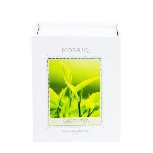 Green Tea Fine Aromatic Candle In A Hand Blown Glass And Modern Gift Box