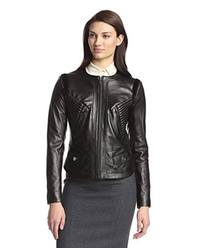 Vera Wang Women's Leather Jacket with Faux Fur Accents  [Black]