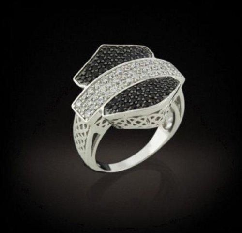 Harley-Davidson® Women's Stamper® Sterling Silver Zirconias Ring. RCR0001