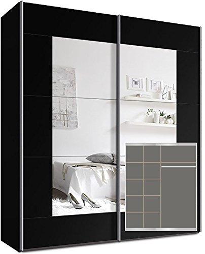 Kleiderschrank-Schwebetrenschrank-ca-180cm-inkl-9-Einlegebden-Schwarz-Spiegel