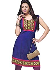 Lavis Women's Blue Printed Cotton Kurti - B00LRQMDBK