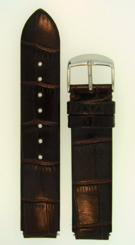 Fits Philip Stein size 1 18mm Dark Chocolate Brown Alligator Grain Leather Watchband With Spring Bars By JP Leatherworks