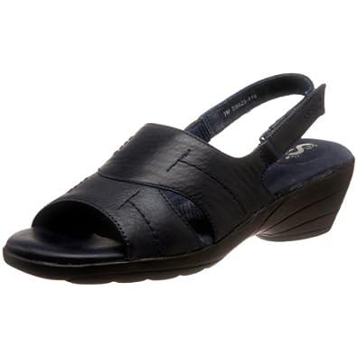 Softwalk Women's Genoa Platform Sandal,Navy Leather,8 N US