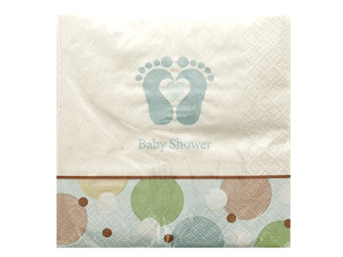 Tiny Toes Blue Napkins Set-Package Quantity,144 front-1045180