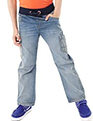 Limited Pure Cotton Ribbed Waistband Jeans