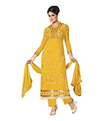 DIVISHA FASHIONS YELLOW FAUX GEORGETTE DRESS MATERIAL WITH DUPATTA